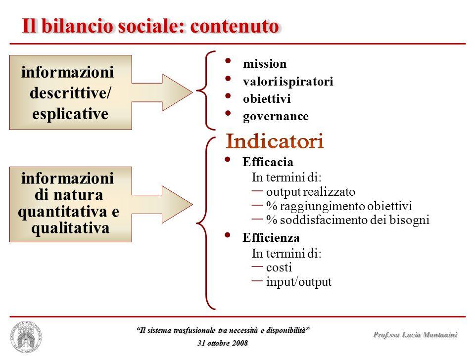 """Prof.ssa Lucia Montanini """"Il sistema trasfusionale tra necessità e disponibilità"""" 31 ottobre 2008 Il bilancio sociale: contenuto mission valori ispira"""