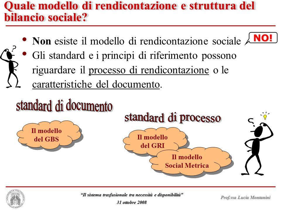 """Prof.ssa Lucia Montanini """"Il sistema trasfusionale tra necessità e disponibilità"""" 31 ottobre 2008 Quale modello di rendicontazione e struttura del bil"""