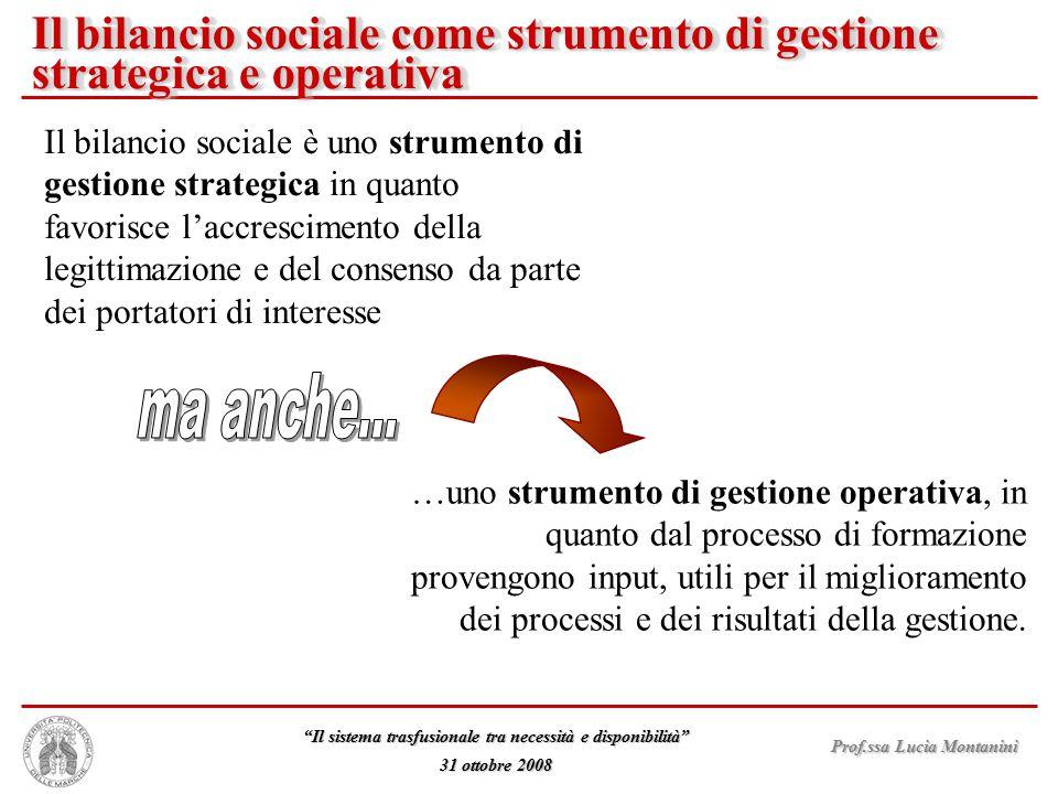 """Prof.ssa Lucia Montanini """"Il sistema trasfusionale tra necessità e disponibilità"""" 31 ottobre 2008 Il bilancio sociale è uno strumento di gestione stra"""