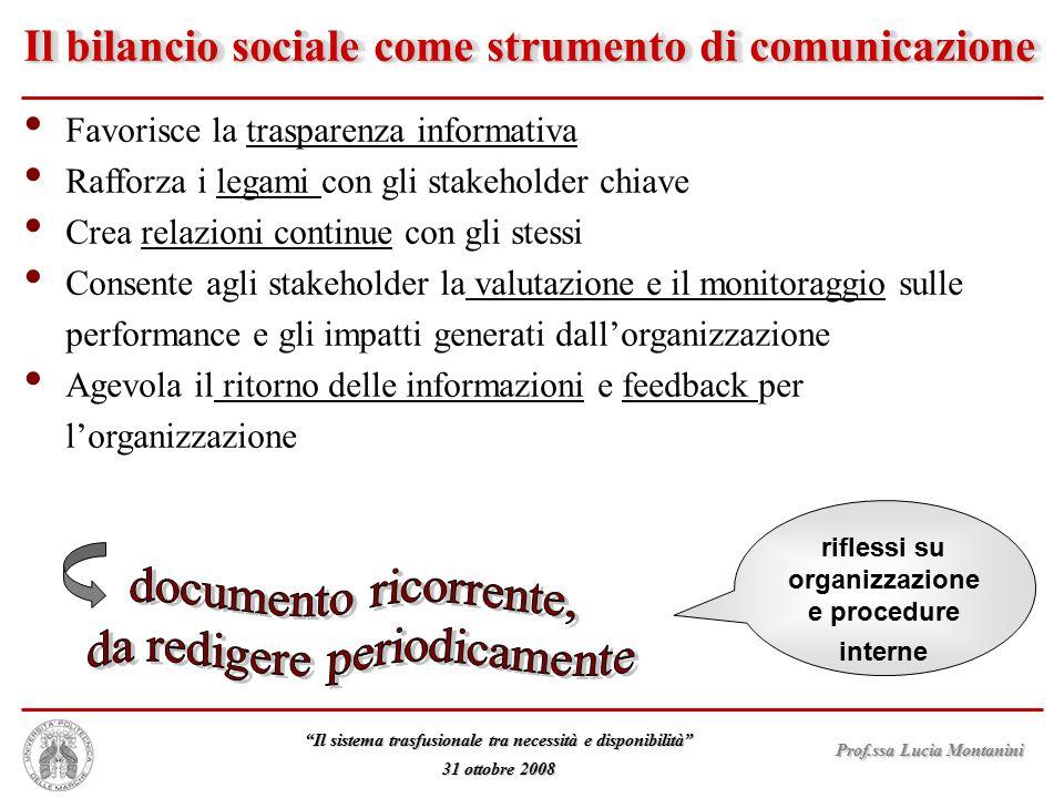 """Prof.ssa Lucia Montanini """"Il sistema trasfusionale tra necessità e disponibilità"""" 31 ottobre 2008 Il bilancio sociale come strumento di comunicazione"""