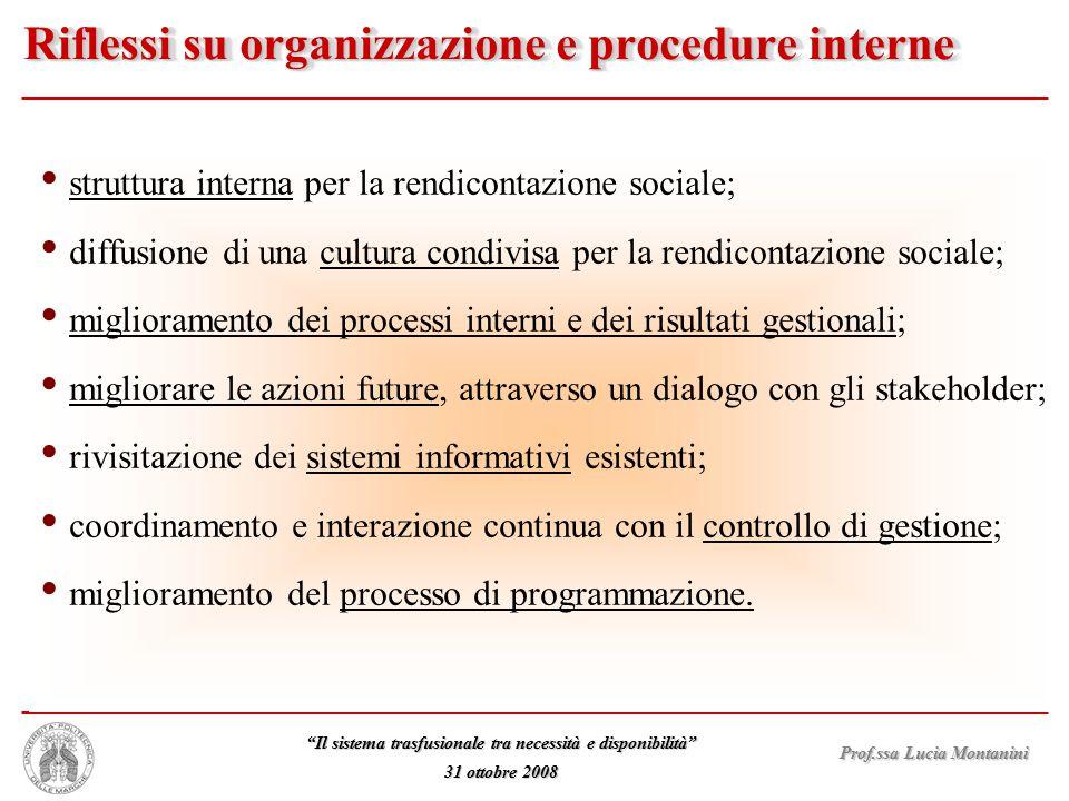 """Prof.ssa Lucia Montanini """"Il sistema trasfusionale tra necessità e disponibilità"""" 31 ottobre 2008 struttura interna per la rendicontazione sociale; di"""