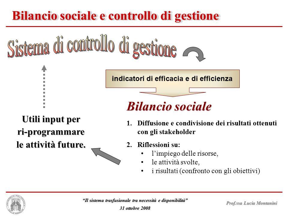 """Prof.ssa Lucia Montanini """"Il sistema trasfusionale tra necessità e disponibilità"""" 31 ottobre 2008 Bilancio sociale e controllo di gestione Utili input"""
