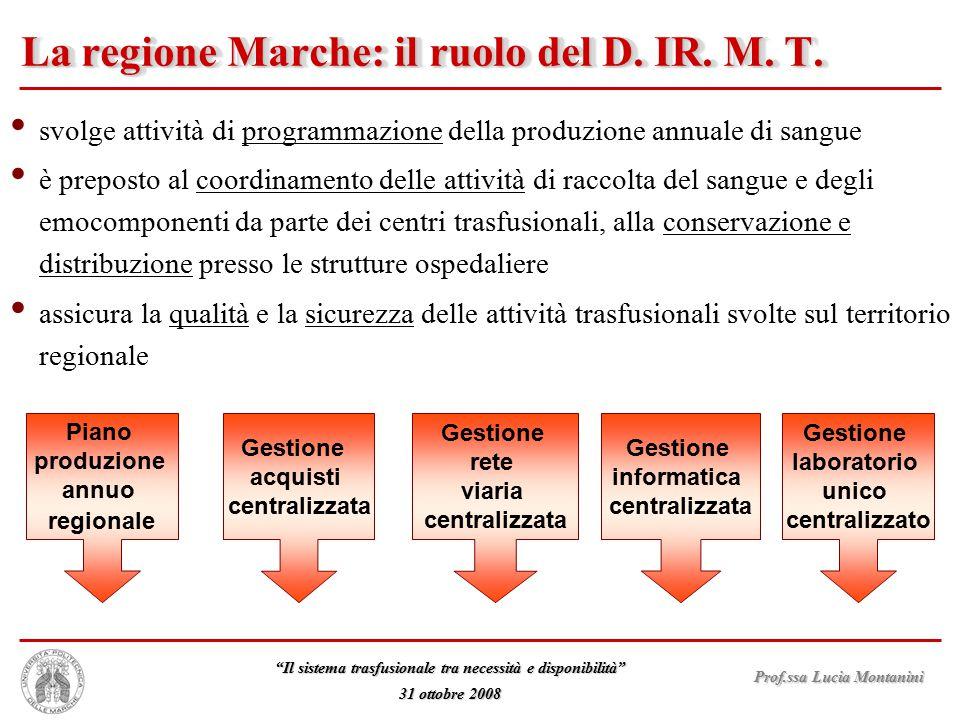 """Prof.ssa Lucia Montanini """"Il sistema trasfusionale tra necessità e disponibilità"""" 31 ottobre 2008 La regione Marche: il ruolo del D. IR. M. T. svolge"""