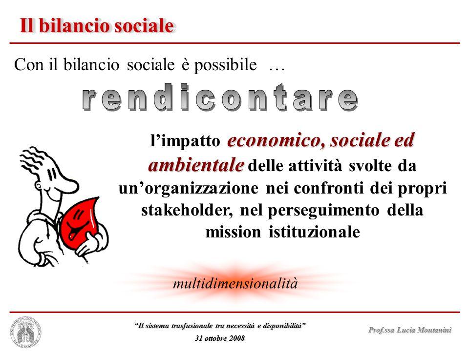 """Prof.ssa Lucia Montanini """"Il sistema trasfusionale tra necessità e disponibilità"""" 31 ottobre 2008 Il bilancio sociale Con il bilancio sociale è possib"""