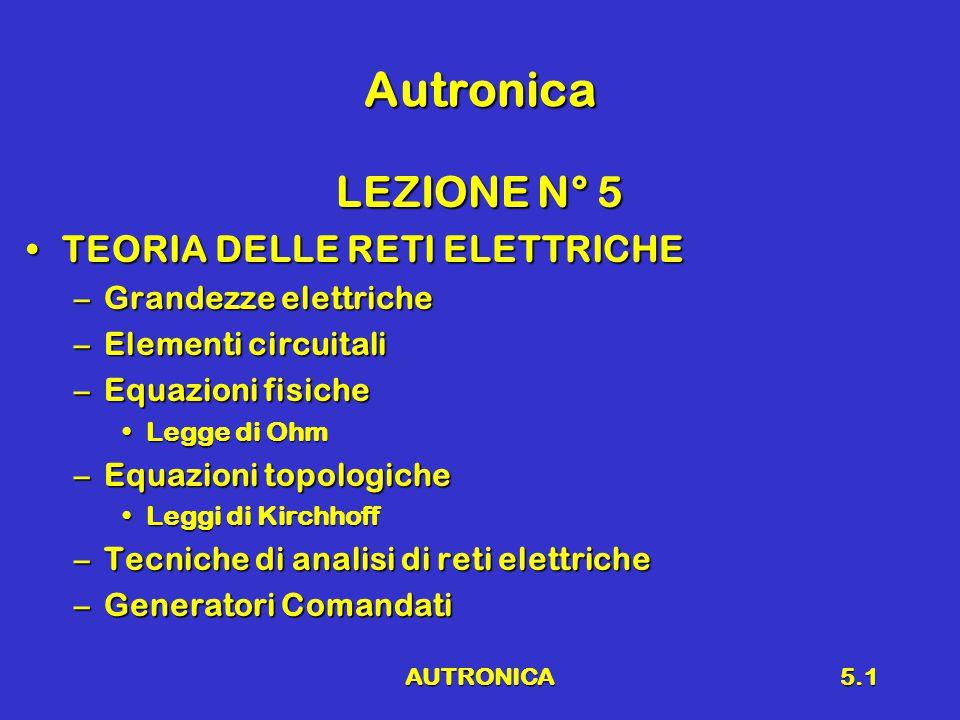 AUTRONICA5.1 Autronica LEZIONE N° 5 TEORIA DELLE RETI ELETTRICHETEORIA DELLE RETI ELETTRICHE –Grandezze elettriche –Elementi circuitali –Equazioni fisiche Legge di OhmLegge di Ohm –Equazioni topologiche Leggi di KirchhoffLeggi di Kirchhoff –Tecniche di analisi di reti elettriche –Generatori Comandati
