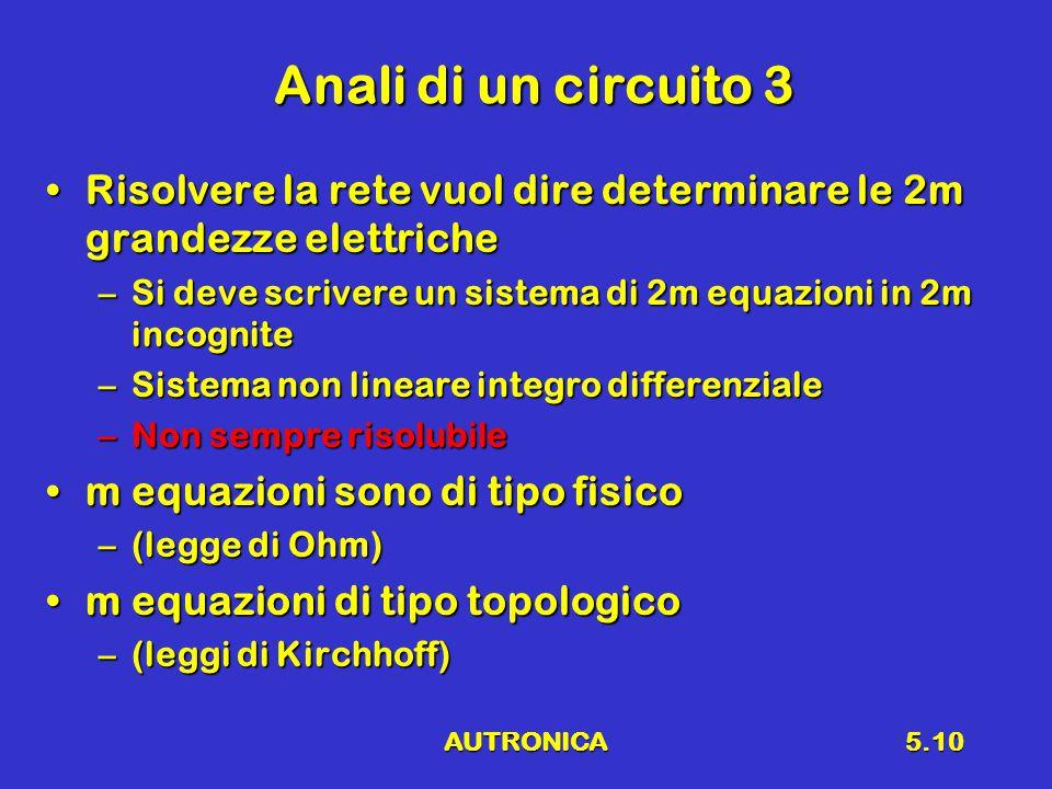 AUTRONICA5.10 Anali di un circuito 3 Risolvere la rete vuol dire determinare le 2m grandezze elettricheRisolvere la rete vuol dire determinare le 2m g