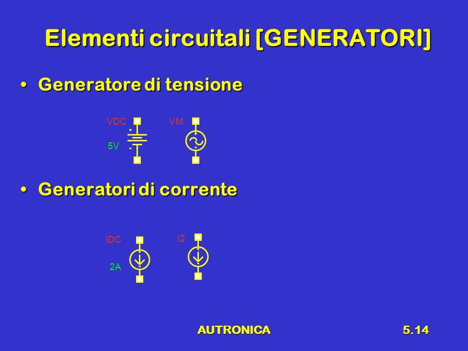 AUTRONICA5.14 Elementi circuitali [GENERATORI] Generatore di tensioneGeneratore di tensione Generatori di correnteGeneratori di corrente VDC 5V VM IDC 2A I2