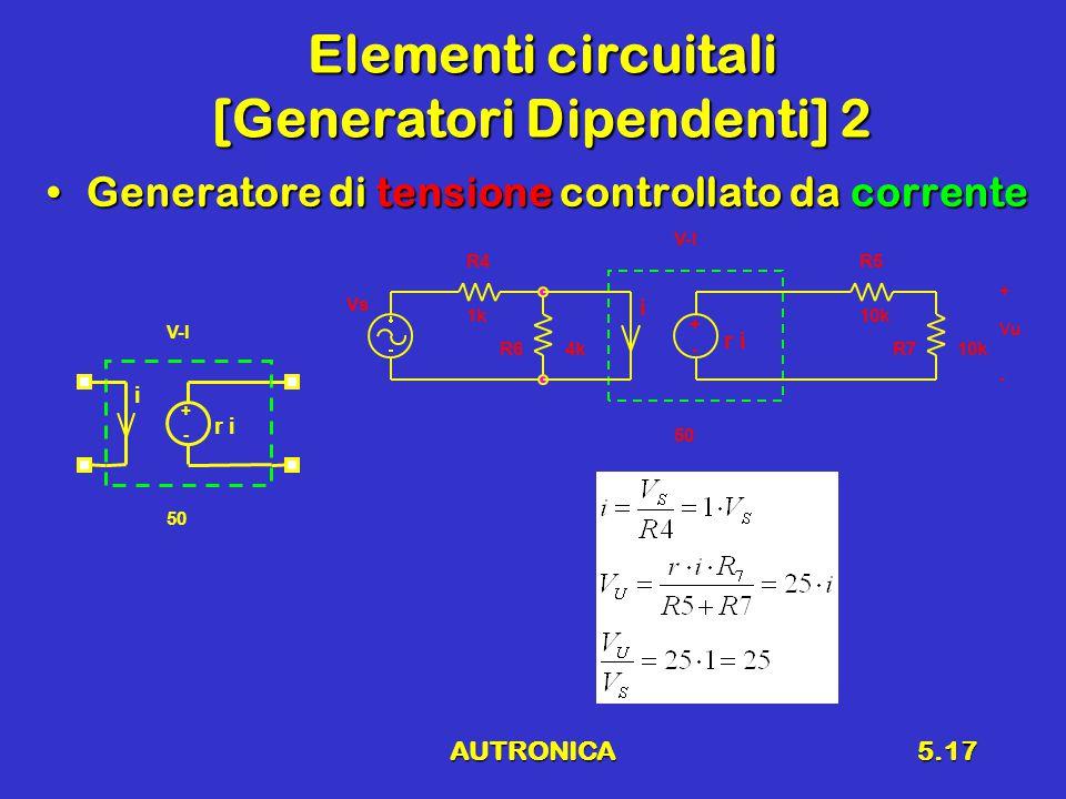 AUTRONICA5.17 Elementi circuitali [Generatori Dipendenti] 2 Generatore di tensione controllato da correnteGeneratore di tensione controllato da corrente - + i r i V-I 50 R5 10k R4 1k Vs R710k - + i r i V-I 50 R64k Vu + -