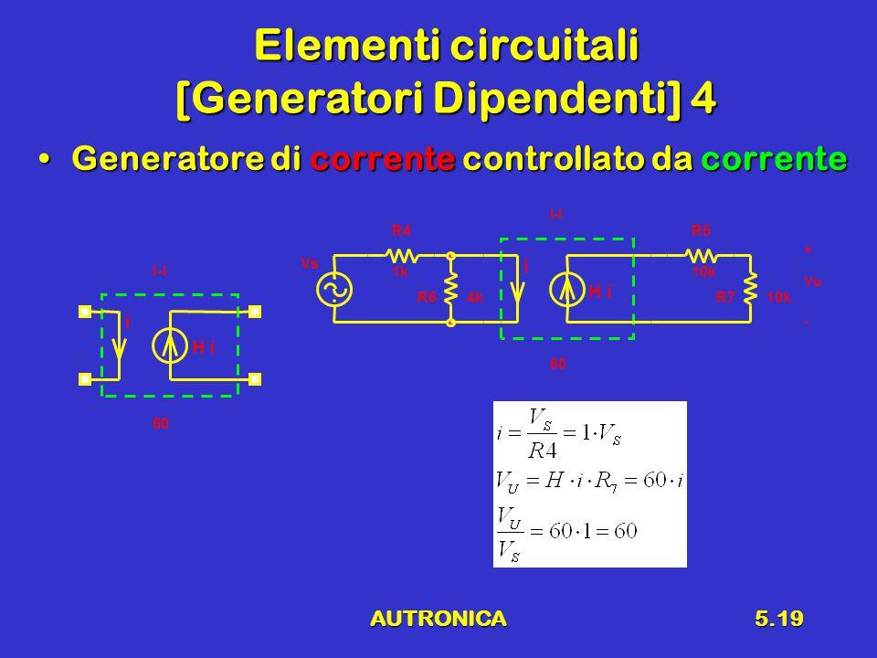 AUTRONICA5.19 Elementi circuitali [Generatori Dipendenti] 4 Generatore di corrente controllato da correnteGeneratore di corrente controllato da corrente i H i I-I 60 R5 10k R4 1k Vs R710kR64k i H i I-I 60 Vu + -