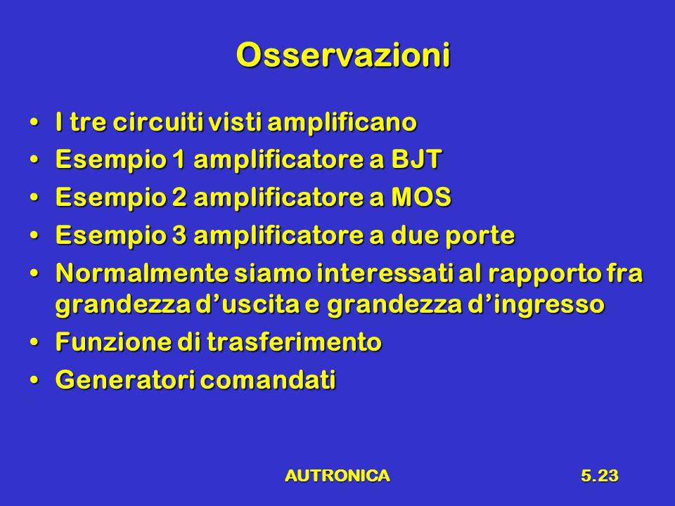 AUTRONICA5.23 Osservazioni I tre circuiti visti amplificanoI tre circuiti visti amplificano Esempio 1 amplificatore a BJTEsempio 1 amplificatore a BJT