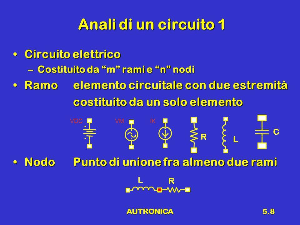 """AUTRONICA5.8 Anali di un circuito 1 Circuito elettricoCircuito elettrico –Costituito da """"m"""" rami e """"n"""" nodi Ramoelemento circuitale con due estremitàR"""