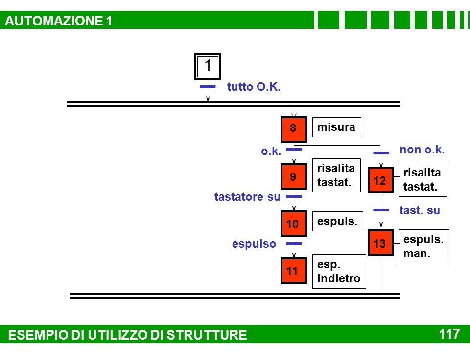 serrato forato 6 risalita risalito sezione lavorazione tutto O.K. 1 sblocco 7 4 serraggio 5 foratura 116 ESEMPIO DI UTILIZZO DI STRUTTURE AUTOMAZIONE