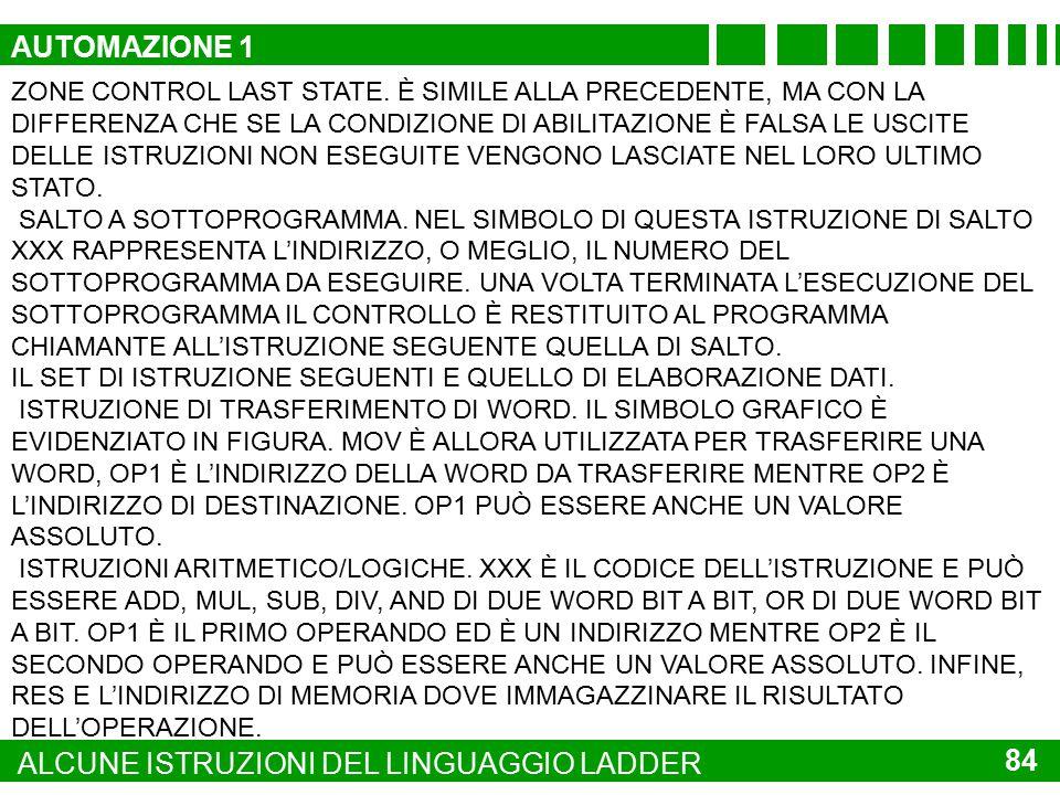 83 ALCUNE ISTRUZIONI DEL LINGUAGGIO LADDER QUESTO SET DI ISTRUZIONI RIUNISCE TUTTE QUELLE CHE DETERMINANO IL CONTROLLO DI FLUSSO DEL PROGRAMMA, OSSIA