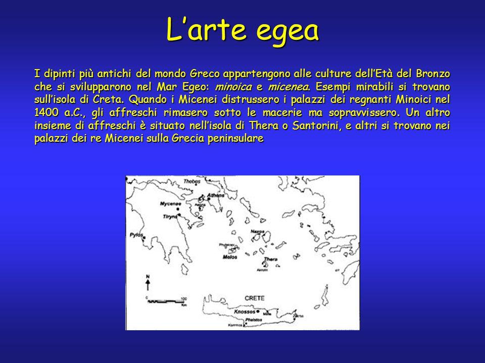 L'arte egea I dipinti più antichi del mondo Greco appartengono alle culture dell'Età del Bronzo che si svilupparono nel Mar Egeo: minoica e micenea.