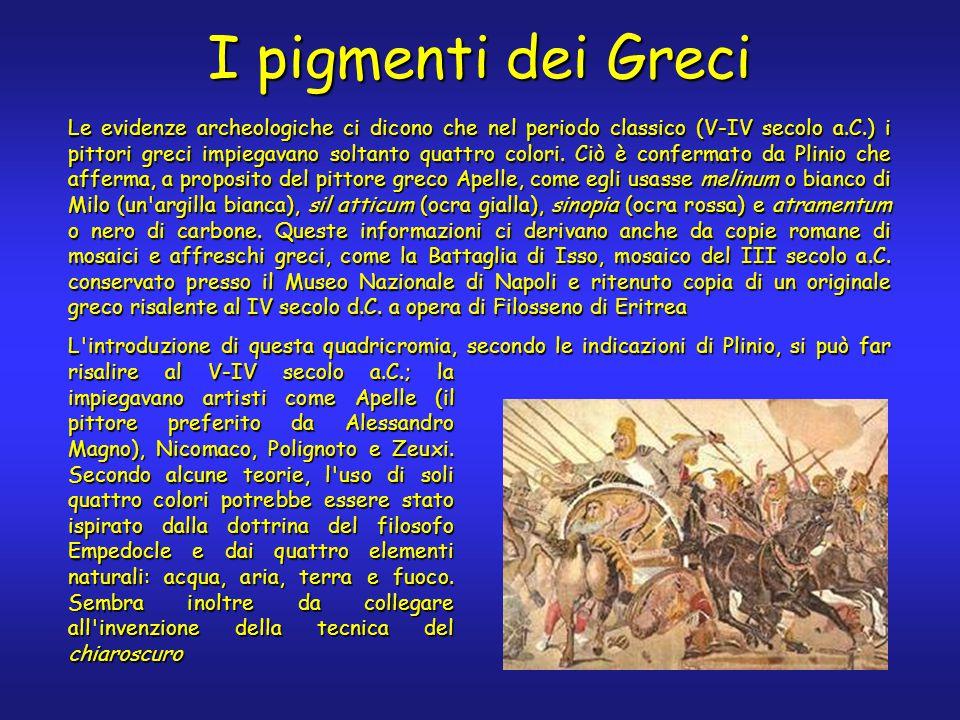 I pigmenti dei Greci Le evidenze archeologiche ci dicono che nel periodo classico (V-IV secolo a.C.) i pittori greci impiegavano soltanto quattro colori.