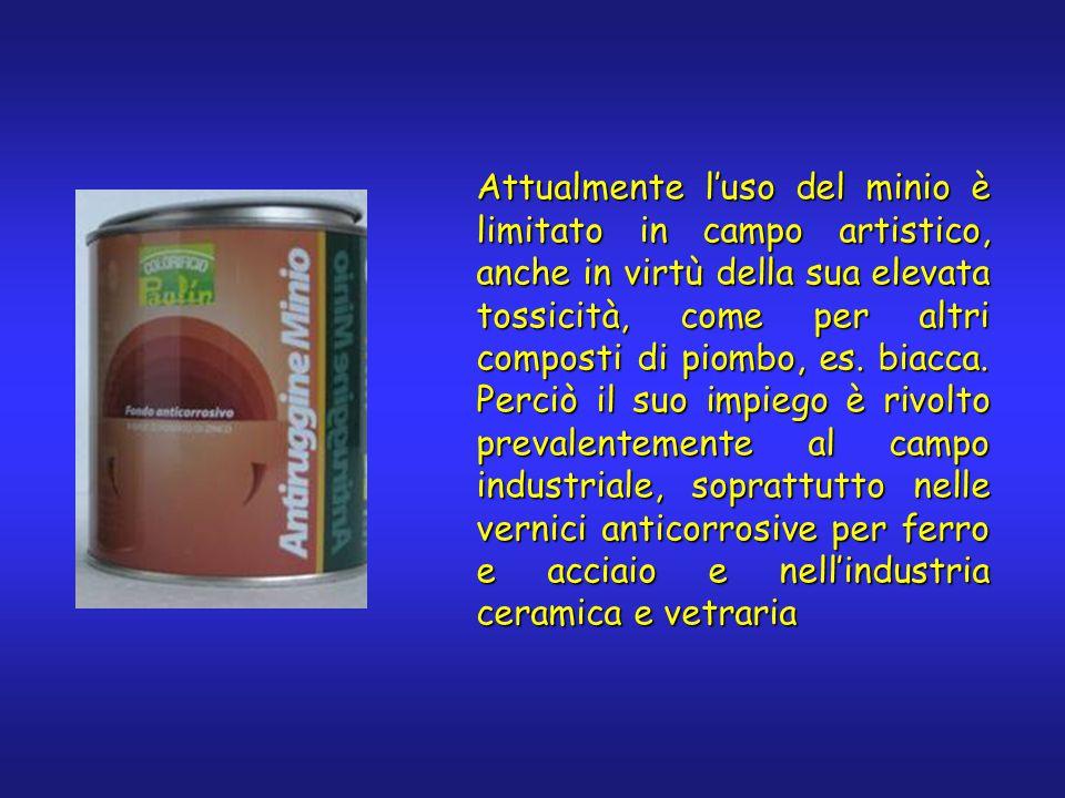 Attualmente l'uso del minio è limitato in campo artistico, anche in virtù della sua elevata tossicità, come per altri composti di piombo, es.