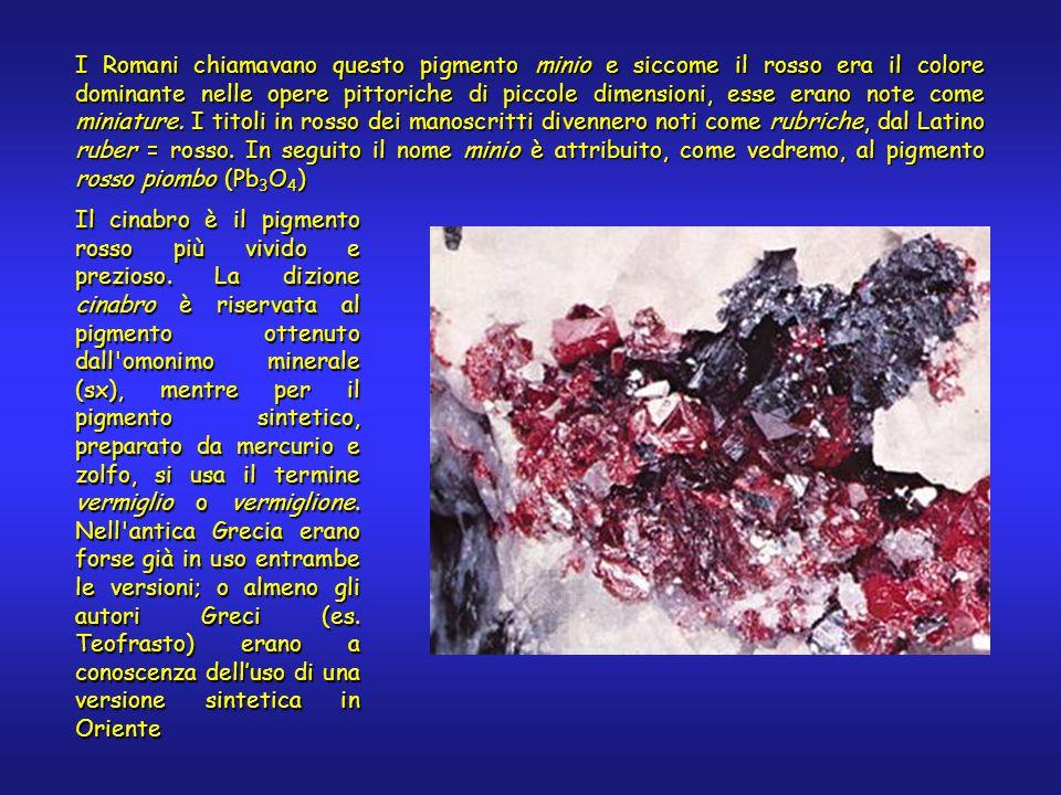I Romani chiamavano questo pigmento minio e siccome il rosso era il colore dominante nelle opere pittoriche di piccole dimensioni, esse erano note come miniature.