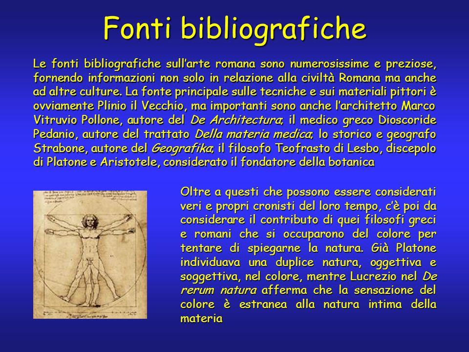 Fonti bibliografiche Le fonti bibliografiche sull'arte romana sono numerosissime e preziose, fornendo informazioni non solo in relazione alla civiltà Romana ma anche ad altre culture.