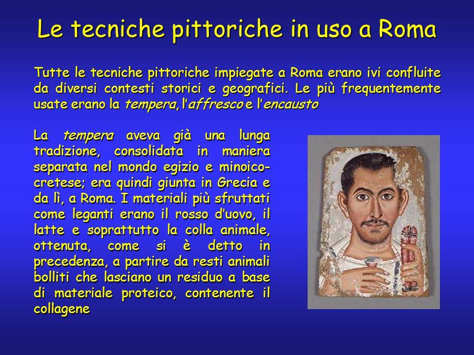 Le tecniche pittoriche in uso a Roma Tutte le tecniche pittoriche impiegate a Roma erano ivi confluite da diversi contesti storici e geografici.
