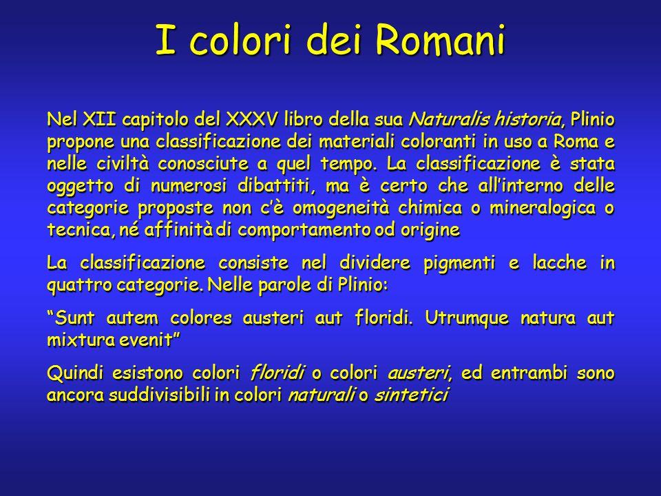 I colori dei Romani Nel XII capitolo del XXXV libro della sua Naturalis historia, Plinio propone una classificazione dei materiali coloranti in uso a Roma e nelle civiltà conosciute a quel tempo.