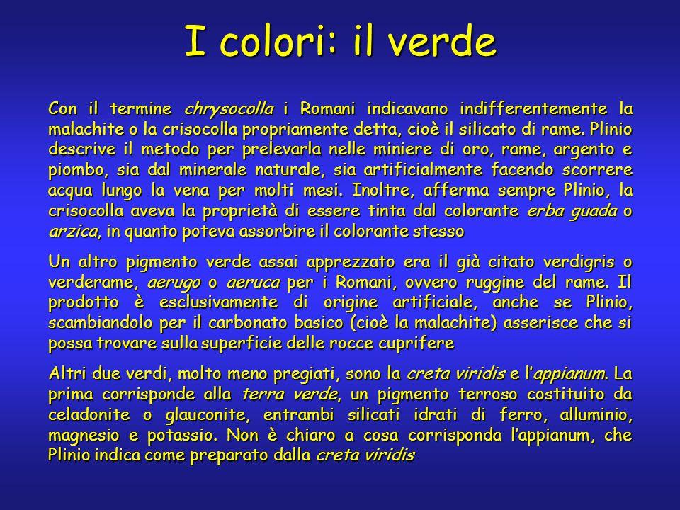 I colori: il verde Con il termine chrysocolla i Romani indicavano indifferentemente la malachite o la crisocolla propriamente detta, cioè il silicato di rame.