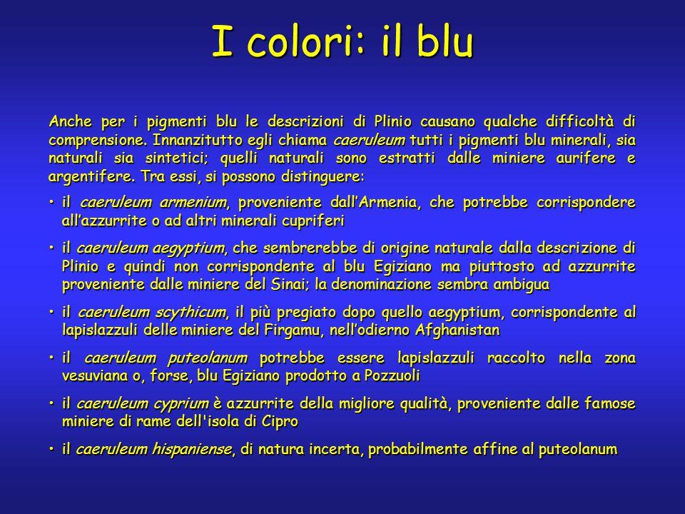 I colori: il blu Anche per i pigmenti blu le descrizioni di Plinio causano qualche difficoltà di comprensione.