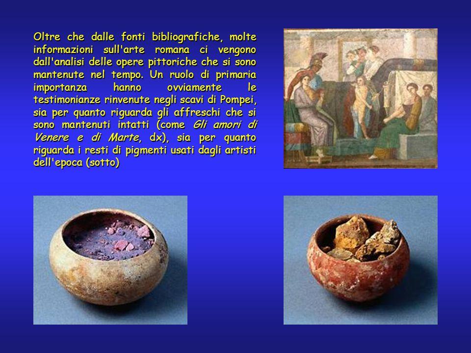 Oltre che dalle fonti bibliografiche, molte informazioni sull arte romana ci vengono dall analisi delle opere pittoriche che si sono mantenute nel tempo.