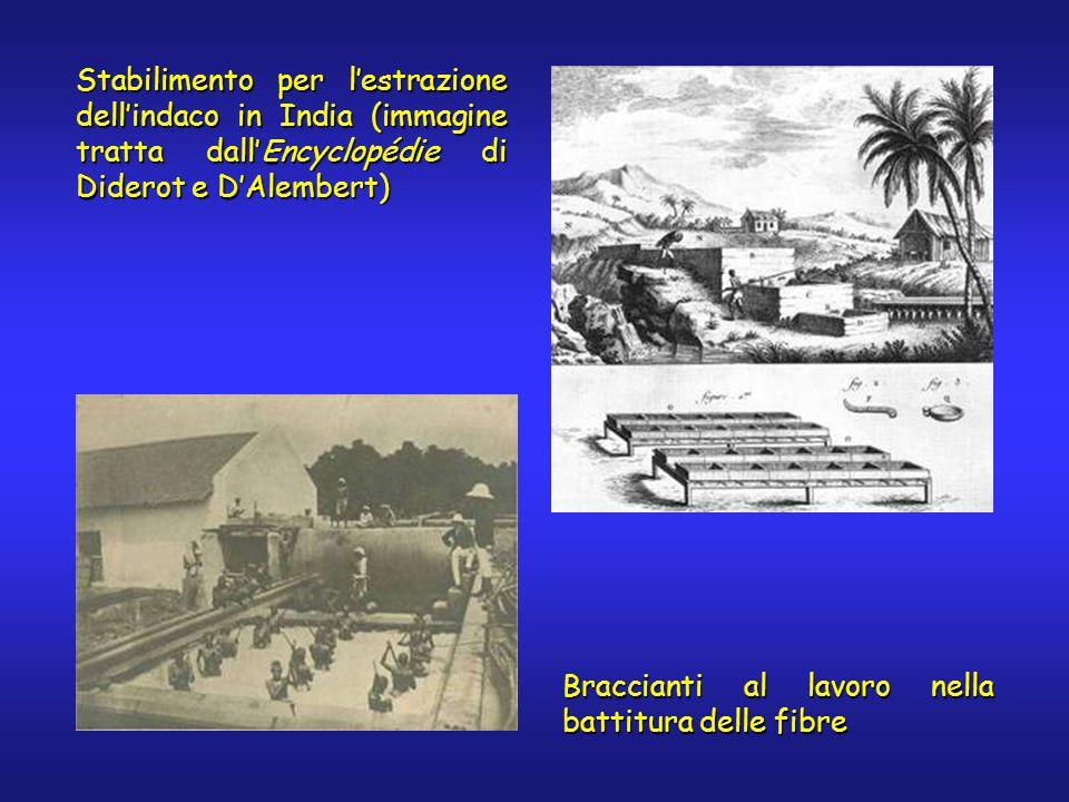 Stabilimento per l'estrazione dell'indaco in India (immagine tratta dall'Encyclopédie di Diderot e D'Alembert) Braccianti al lavoro nella battitura delle fibre