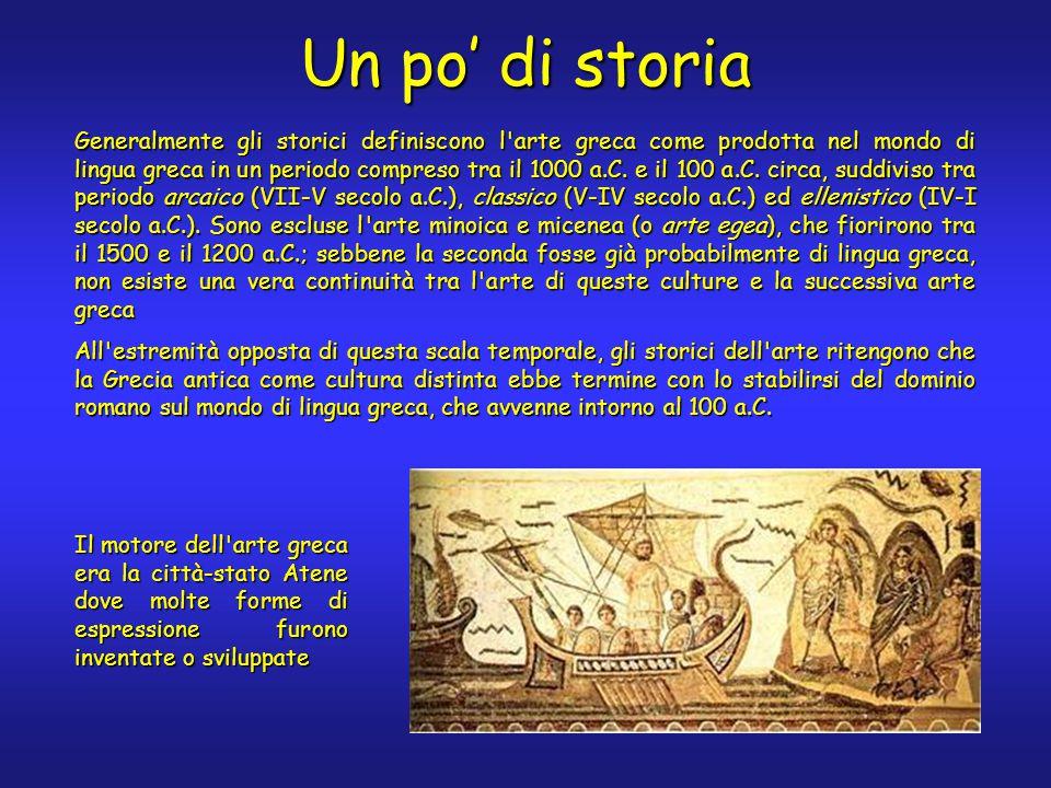 Un po' di storia Generalmente gli storici definiscono l arte greca come prodotta nel mondo di lingua greca in un periodo compreso tra il 1000 a.C.
