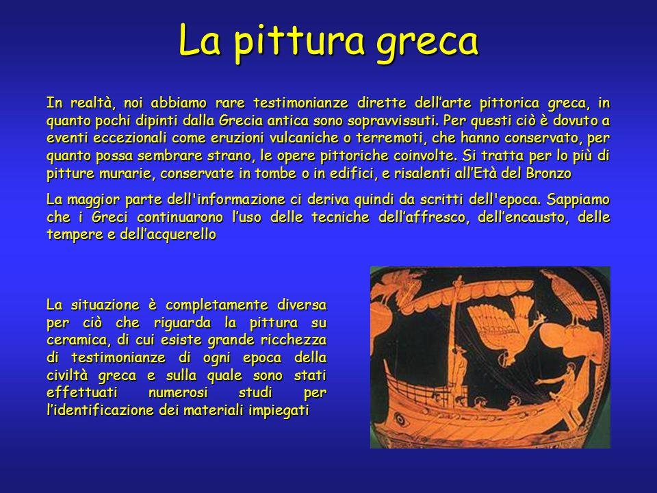 La pittura greca In realtà, noi abbiamo rare testimonianze dirette dell'arte pittorica greca, in quanto pochi dipinti dalla Grecia antica sono sopravvissuti.