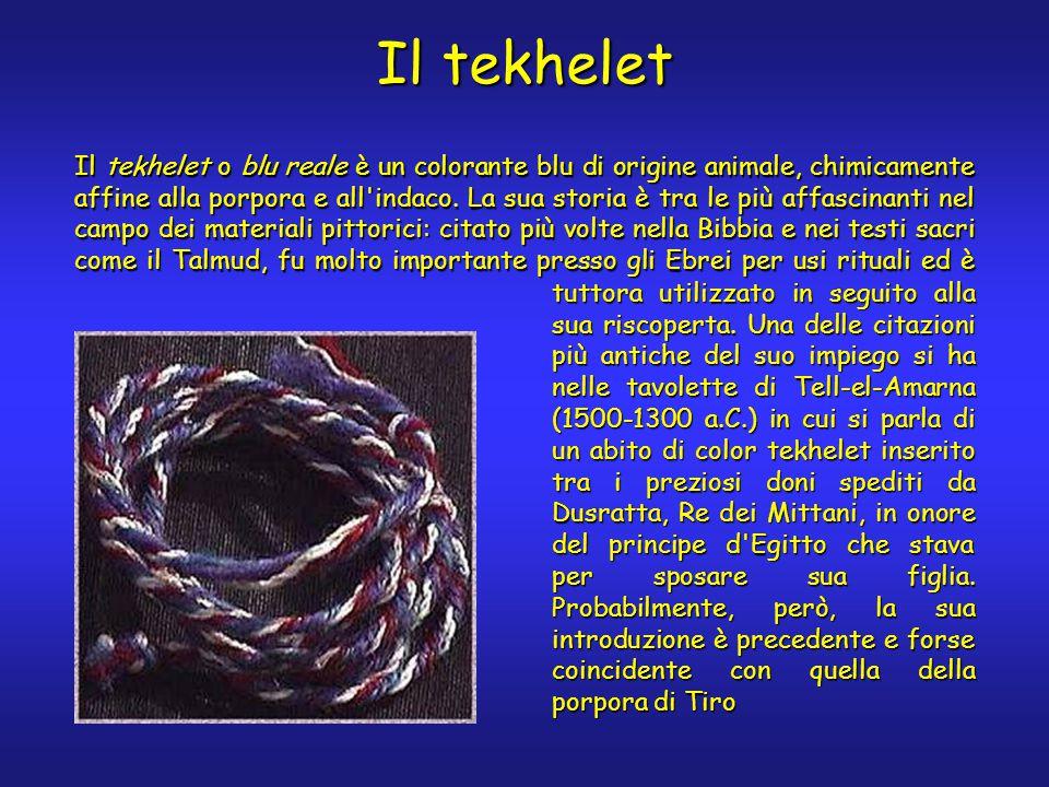 Il tekhelet Il tekhelet o blu reale è un colorante blu di origine animale, chimicamente affine alla porpora e all indaco.