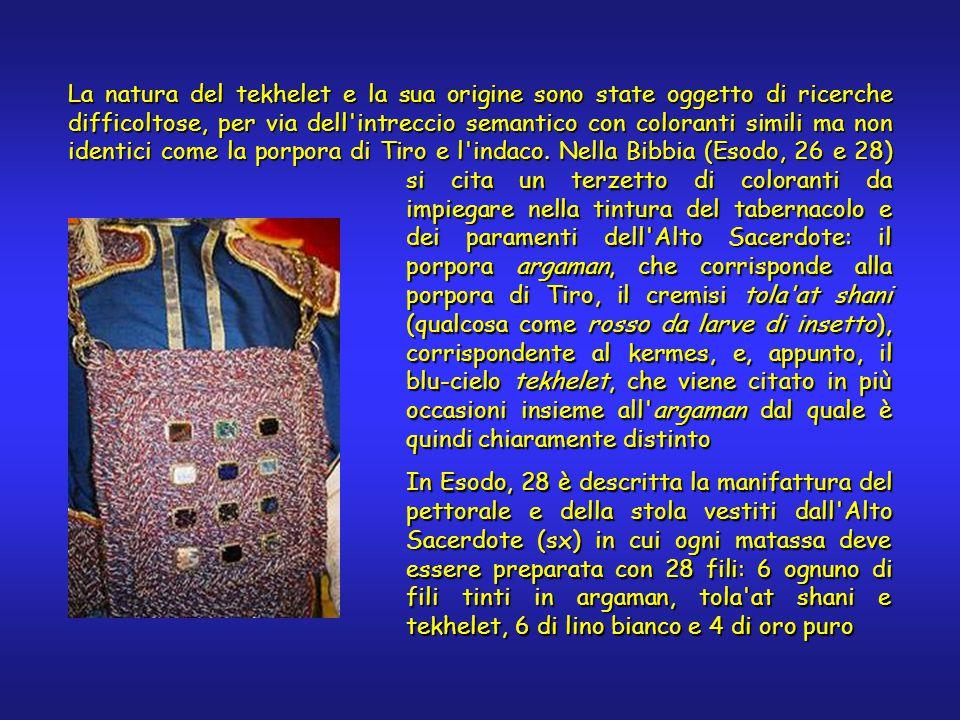La natura del tekhelet e la sua origine sono state oggetto di ricerche difficoltose, per via dell intreccio semantico con coloranti simili ma non identici come la porpora di Tiro e l indaco.