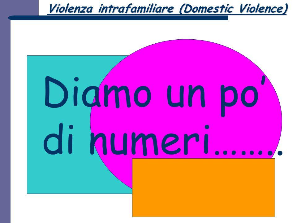 Diamo un po' di numeri…….. Violenza intrafamiliare (Domestic Violence)