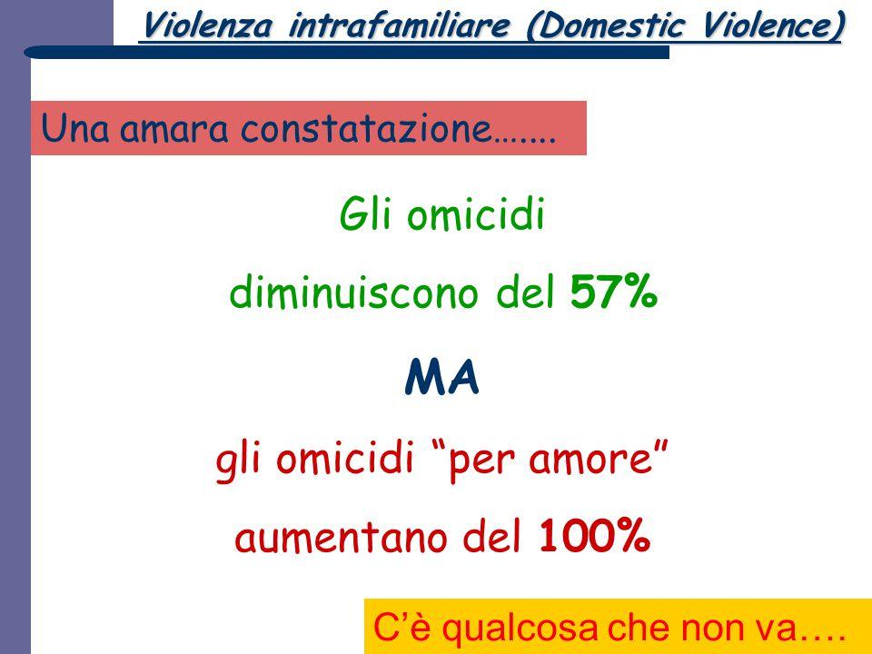 """Gli omicidi diminuiscono del 57% MA gli omicidi """"per amore"""" aumentano del 100% Una amara constatazione….... C'è qualcosa che non va…. Violenza intrafa"""