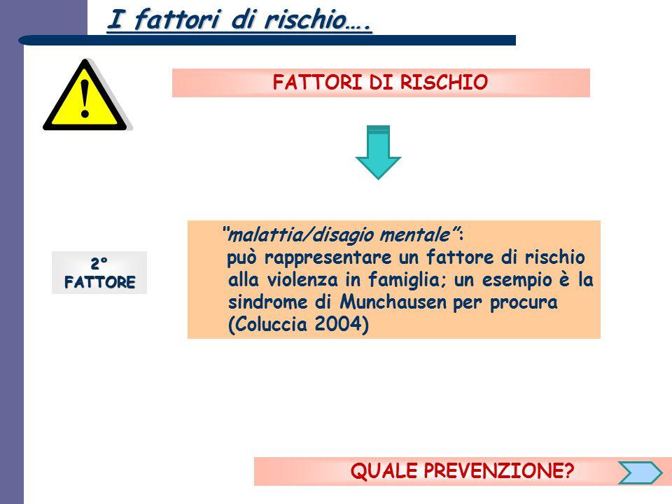 """2°FATTORE """"malattia/disagio mentale"""": può rappresentare un fattore di rischio alla violenza in famiglia; un esempio è la sindrome di Munchausen per pr"""