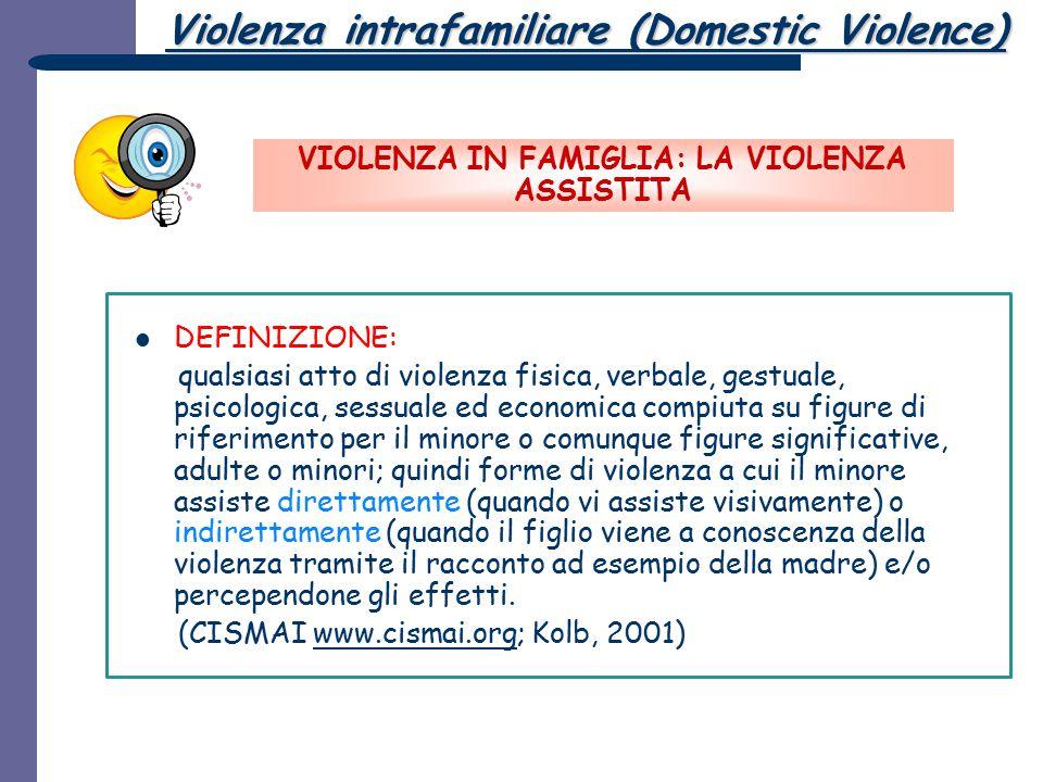 Violenza intrafamiliare (Domestic Violence) VIOLENZA IN FAMIGLIA: LA VIOLENZA ASSISTITA DEFINIZIONE: qualsiasi atto di violenza fisica, verbale, gestu