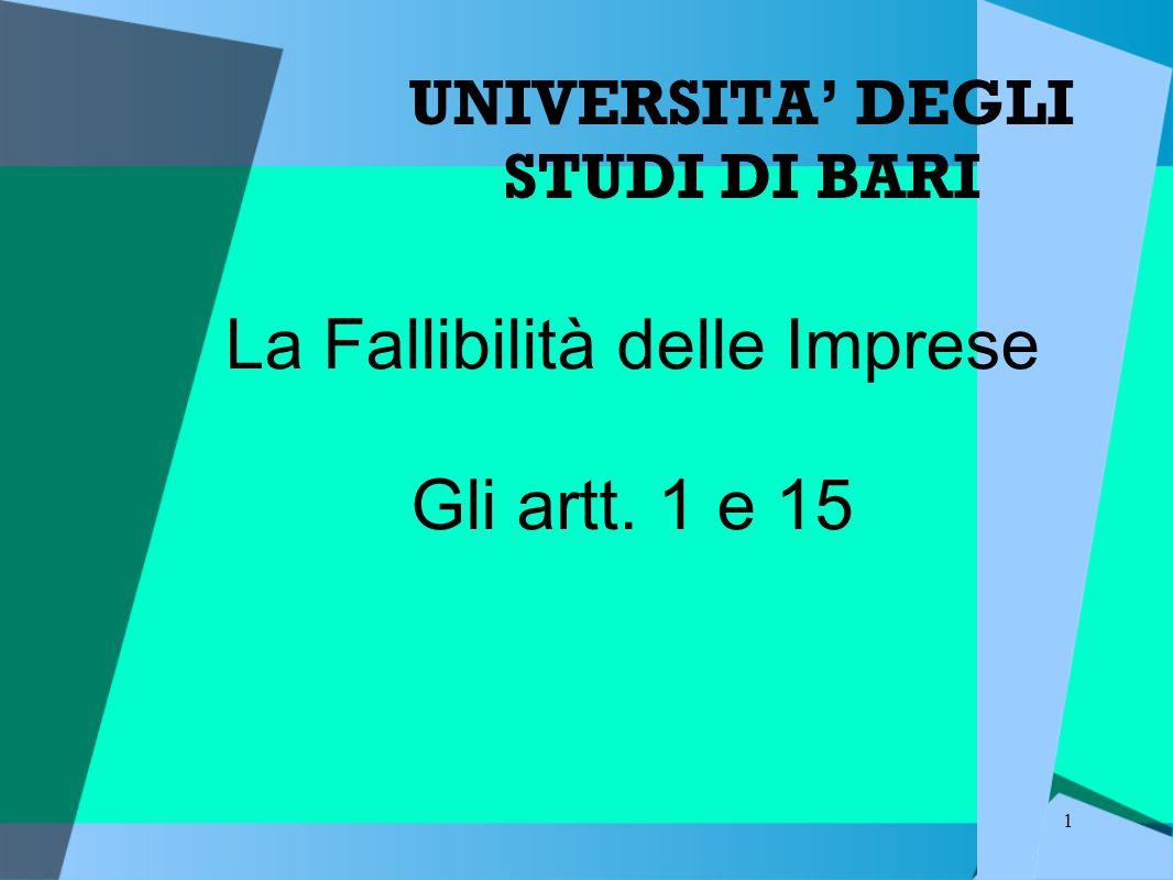 1 UNIVERSITA' DEGLI STUDI DI BARI La Fallibilità delle Imprese Gli artt. 1 e 15