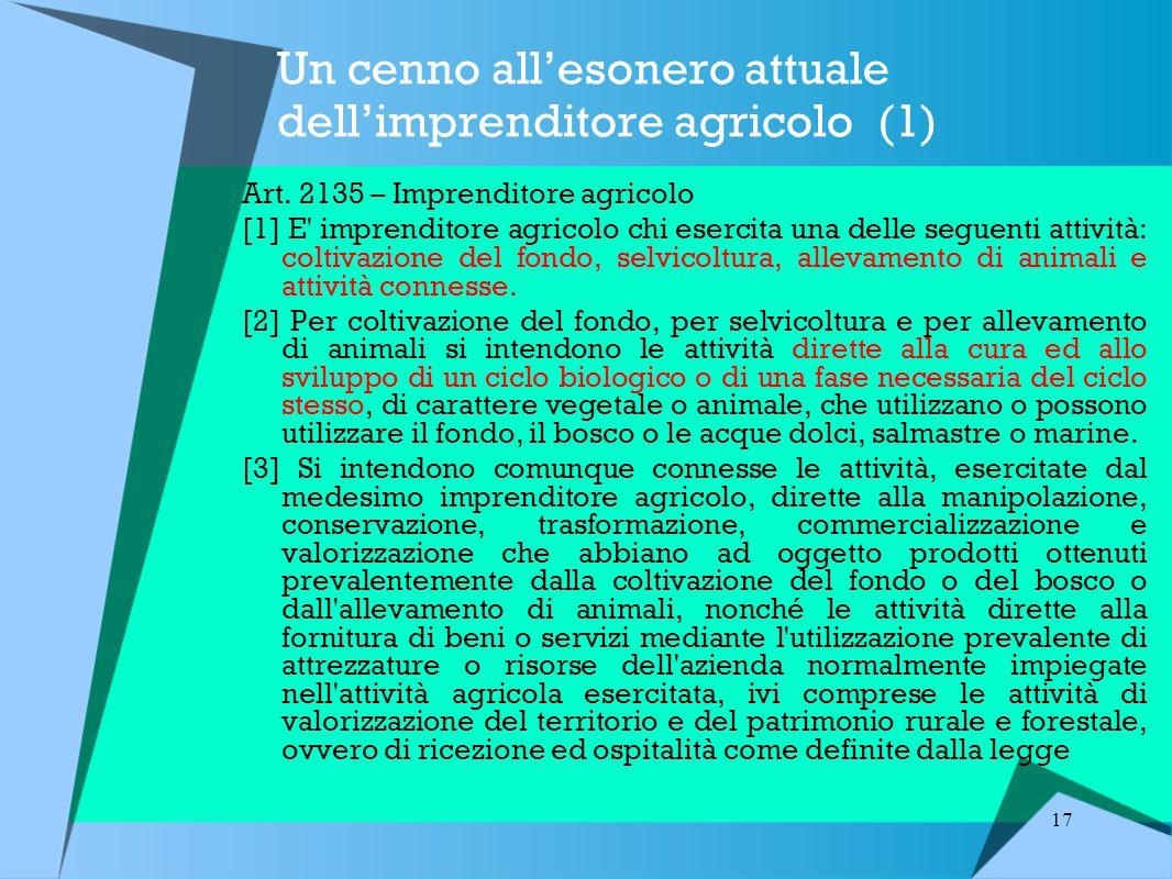 17 Un cenno all'esonero attuale dell'imprenditore agricolo (1) Art.