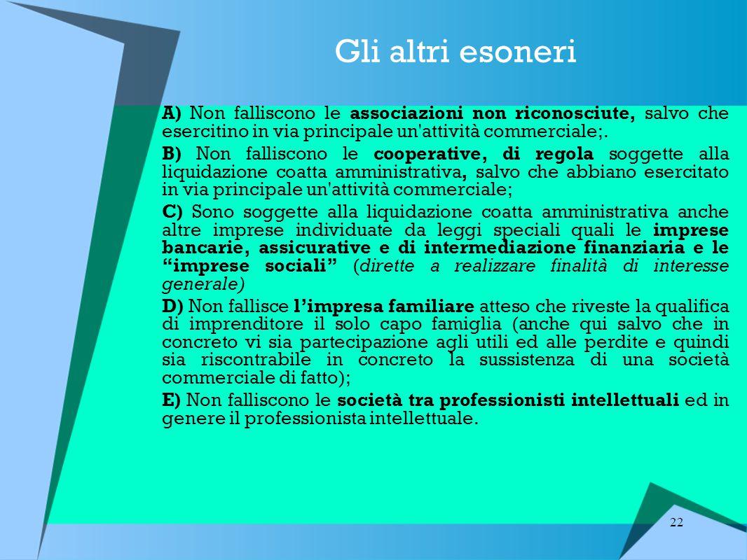 22 Gli altri esoneri A) Non falliscono le associazioni non riconosciute, salvo che esercitino in via principale un attività commerciale;.