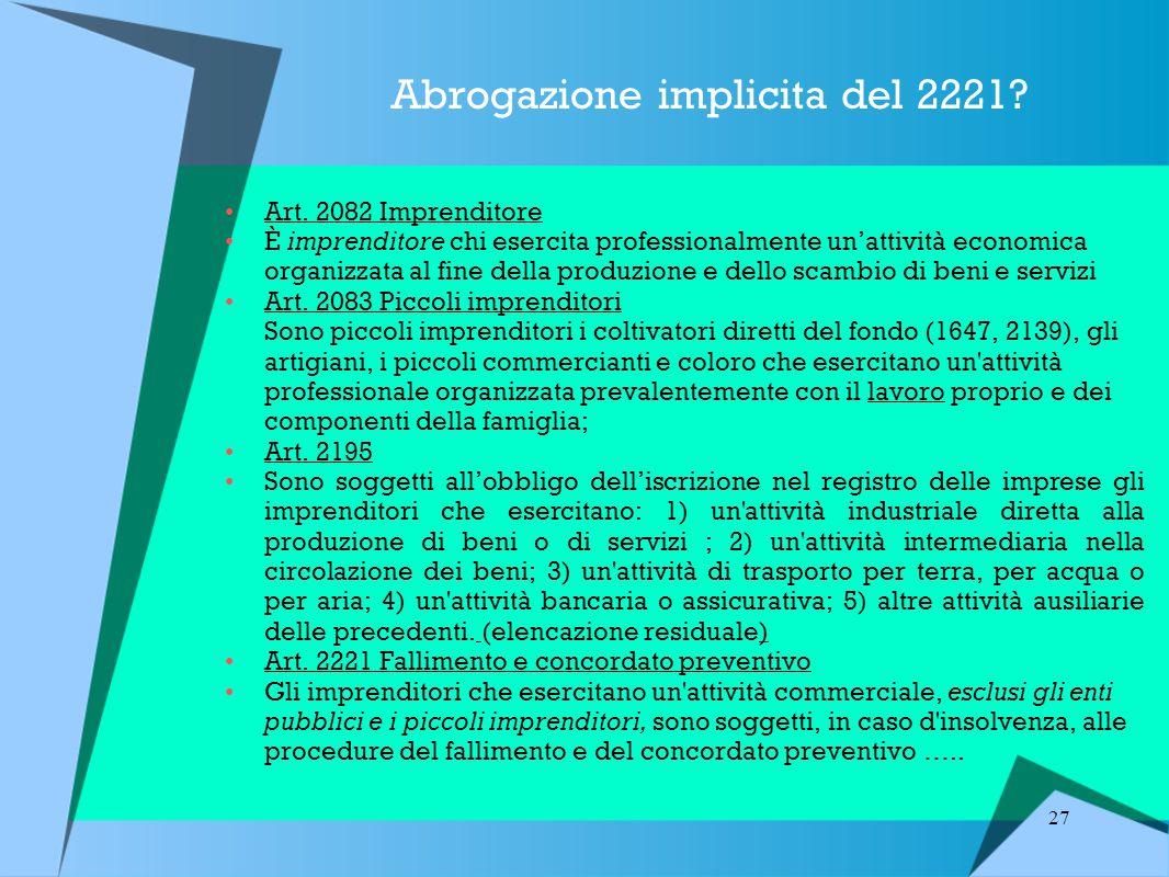 27 Abrogazione implicita del 2221.Art.