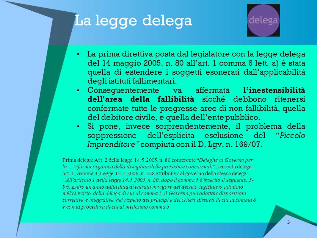 3 La legge delega La prima direttiva posta dal legislatore con la legge delega del 14 maggio 2005, n.