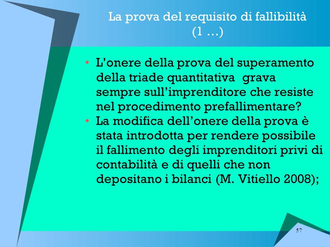 57 La prova del requisito di fallibilità (1 …) L'onere della prova del superamento della triade quantitativa grava sempre sull'imprenditore che resiste nel procedimento prefallimentare.