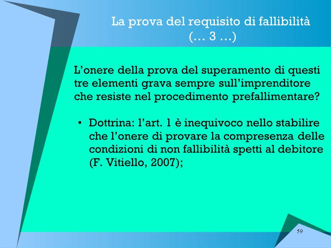 59 La prova del requisito di fallibilità (… 3 …) L'onere della prova del superamento di questi tre elementi grava sempre sull'imprenditore che resiste nel procedimento prefallimentare.