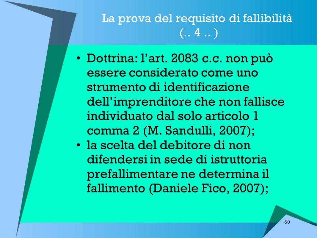 60 La prova del requisito di fallibilità (..4.. ) Dottrina: l'art.