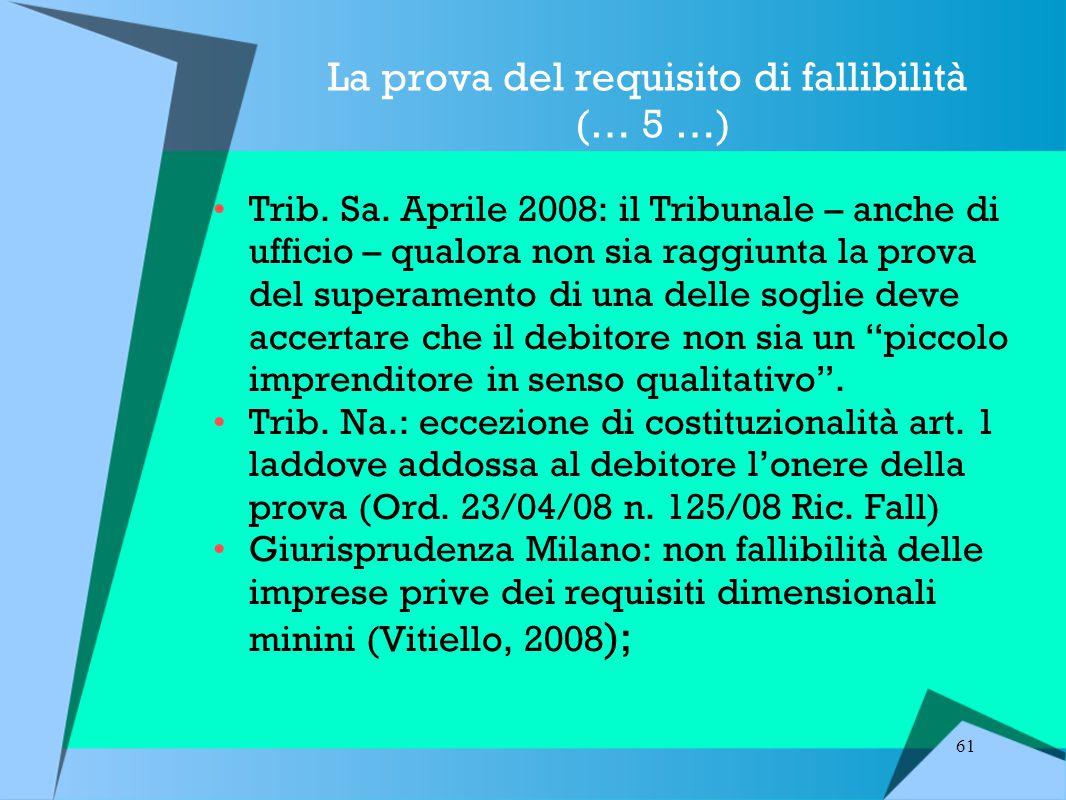 61 La prova del requisito di fallibilità (… 5 …) Trib.