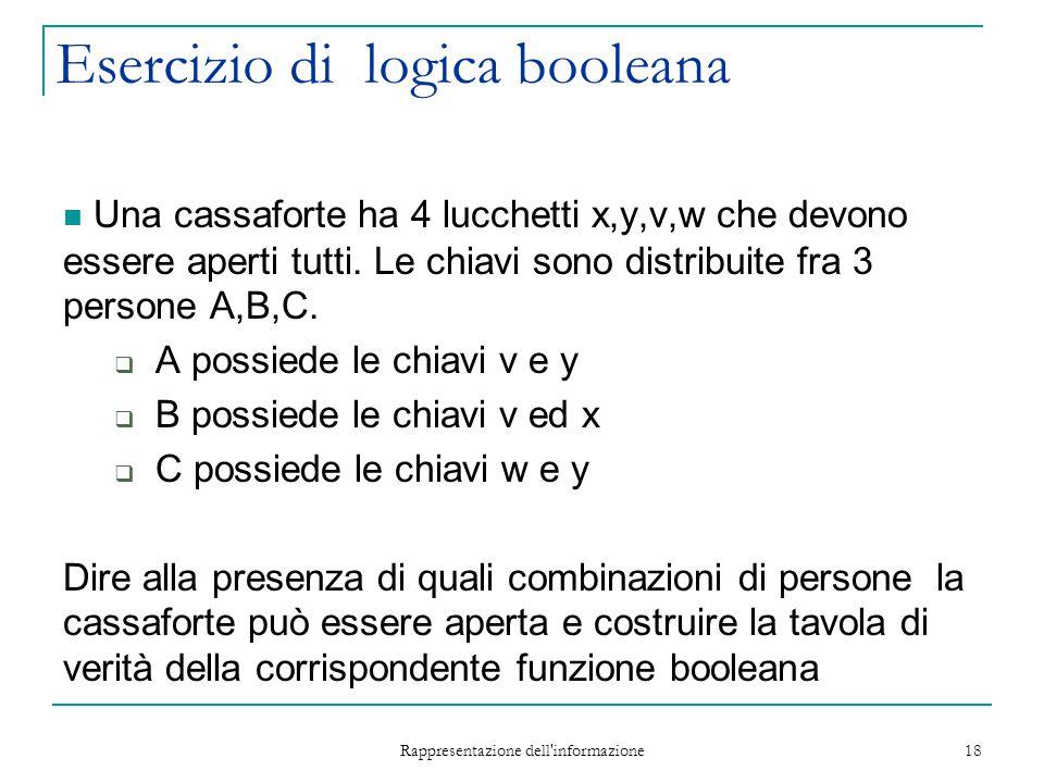 Rappresentazione dell'informazione 18 Esercizio di logica booleana Una cassaforte ha 4 lucchetti x,y,v,w che devono essere aperti tutti. Le chiavi son