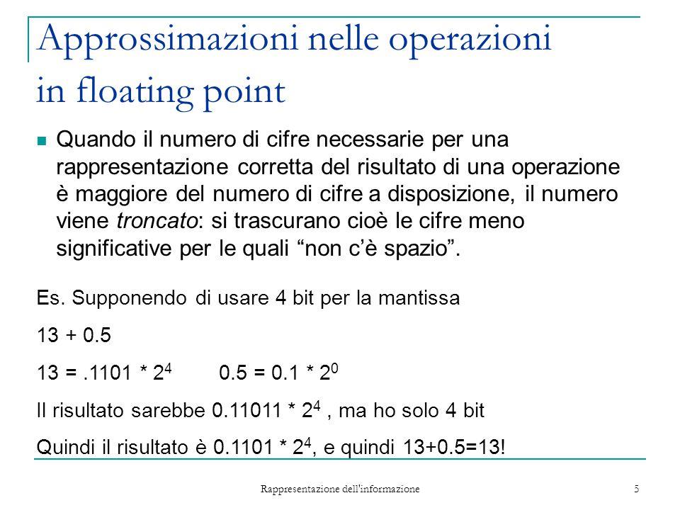 Rappresentazione dell'informazione 5 Approssimazioni nelle operazioni in floating point Quando il numero di cifre necessarie per una rappresentazione