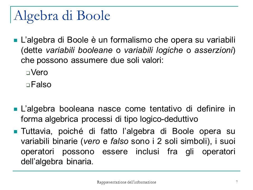 Rappresentazione dell informazione 7 Algebra di Boole L'algebra di Boole è un formalismo che opera su variabili (dette variabili booleane o variabili logiche o asserzioni) che possono assumere due soli valori:  Vero  Falso L'algebra booleana nasce come tentativo di definire in forma algebrica processi di tipo logico-deduttivo Tuttavia, poiché di fatto l'algebra di Boole opera su variabili binarie (vero e falso sono i 2 soli simboli), i suoi operatori possono essere inclusi fra gli operatori dell'algebra binaria.