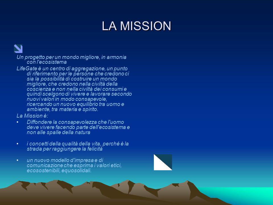 LA MISSION Un progetto per un mondo migliore, in armonia con l'ecosistema LifeGate è un centro di aggregazione, un punto di riferimento per le persone