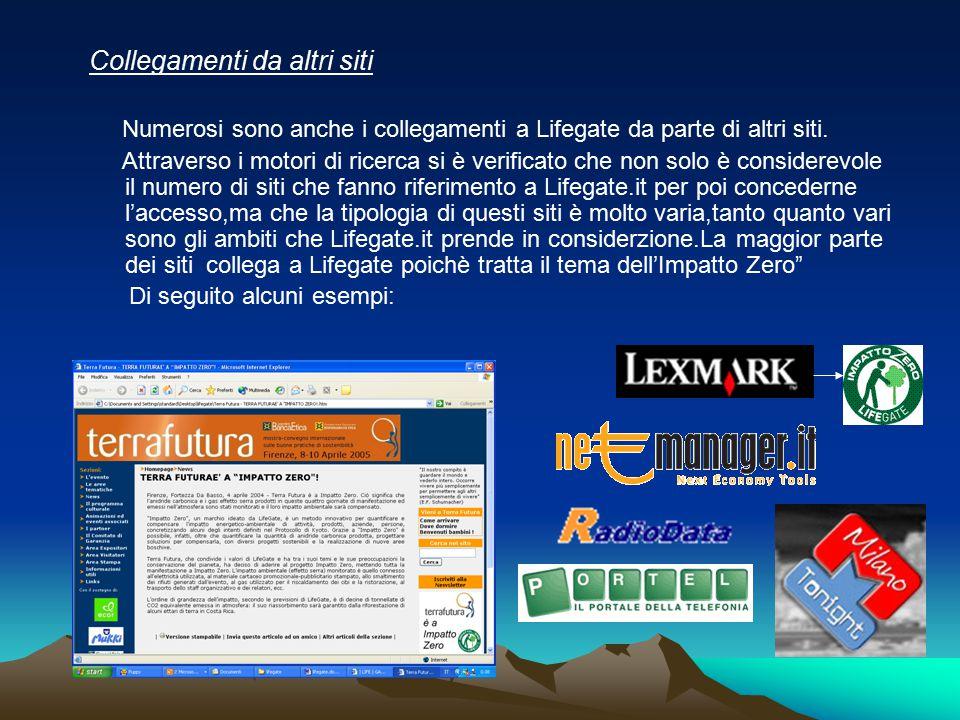 Collegamenti da altri siti Numerosi sono anche i collegamenti a Lifegate da parte di altri siti. Attraverso i motori di ricerca si è verificato che no